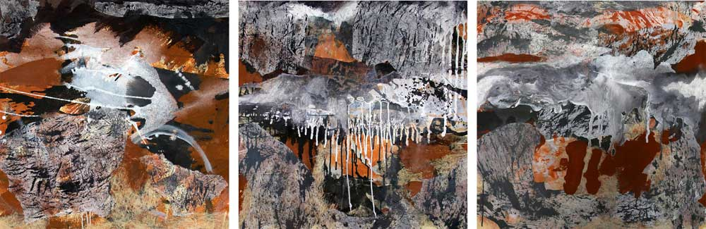 Rain Over Red Earth mixed media on canvas 80 x 240cm triptych