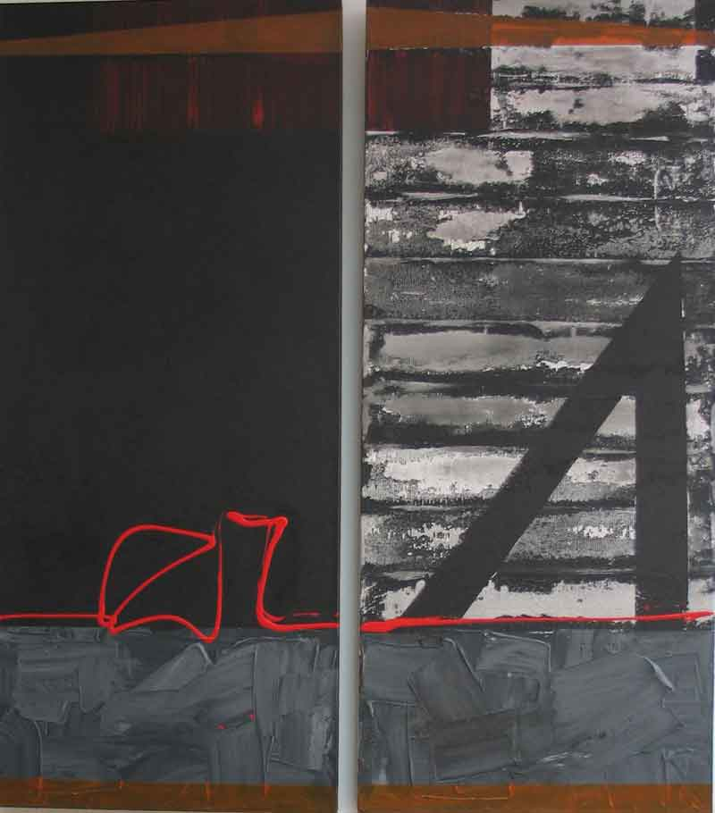 'Raku' mixed media on canvas diptych each panel 140cm x 60cm
