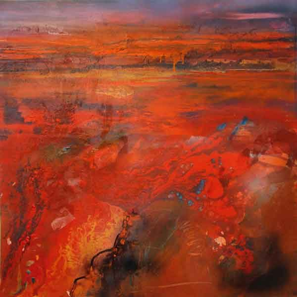 West-of-the-Divide-I mixed media on canvas 100x100cm
