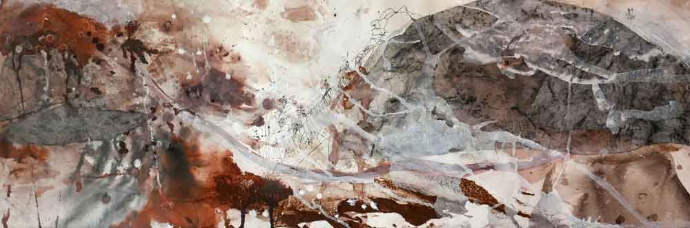 'Arkaroola I' mixed media on paper 49x116cm framed SOLD