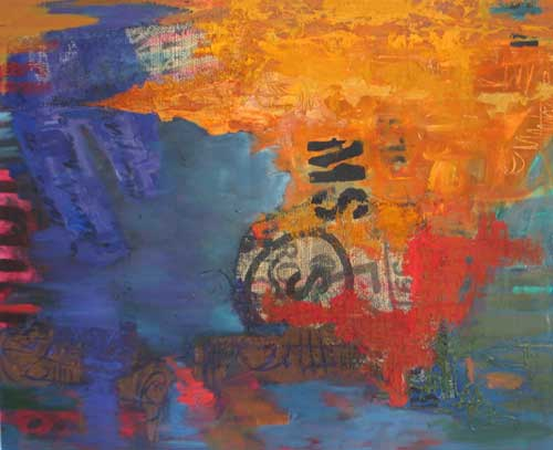 'You Came With Hundreds of Jacarandas' mixed media and collage on canvas' 140cm X 170cm