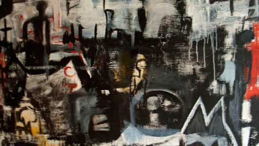 'Leaving the City' acrylic and ink on canvas 80cm x 140cm