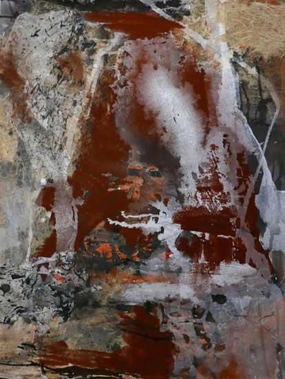 'Red Earth VI' sand , ink, ochre, collage and gouache on paper 99cm x 77cm framed $1500