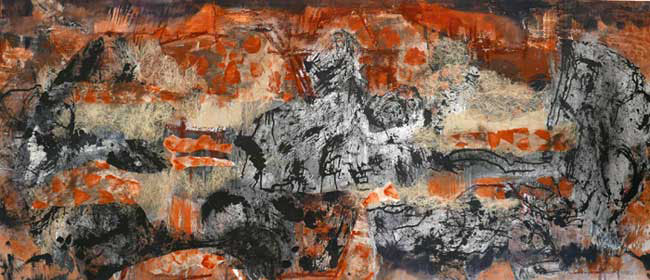 Surface III clay, oxides, collage ink and acrylic on canvas 80cm x 190cm