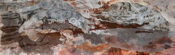 'Arkaroola-II; clay, ink, ochre, sand and collage on paper 90cm x 117cm framed