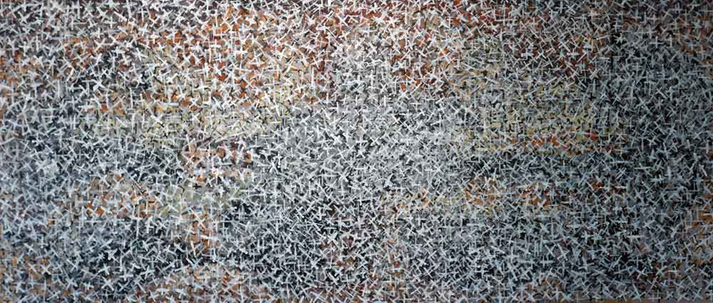 The Variety of Human Repetition in a Horizontal and Vertical Landscape I mixed media on canvas 80x180cm $4000