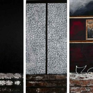 'The Variety of Human Repetition' tryptch mixed media on canvas 140cm x 60cm each panel $5000