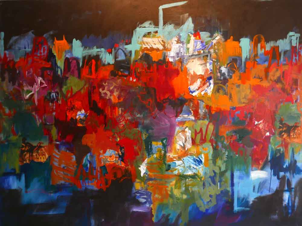 large contemporary abstract landscape painting