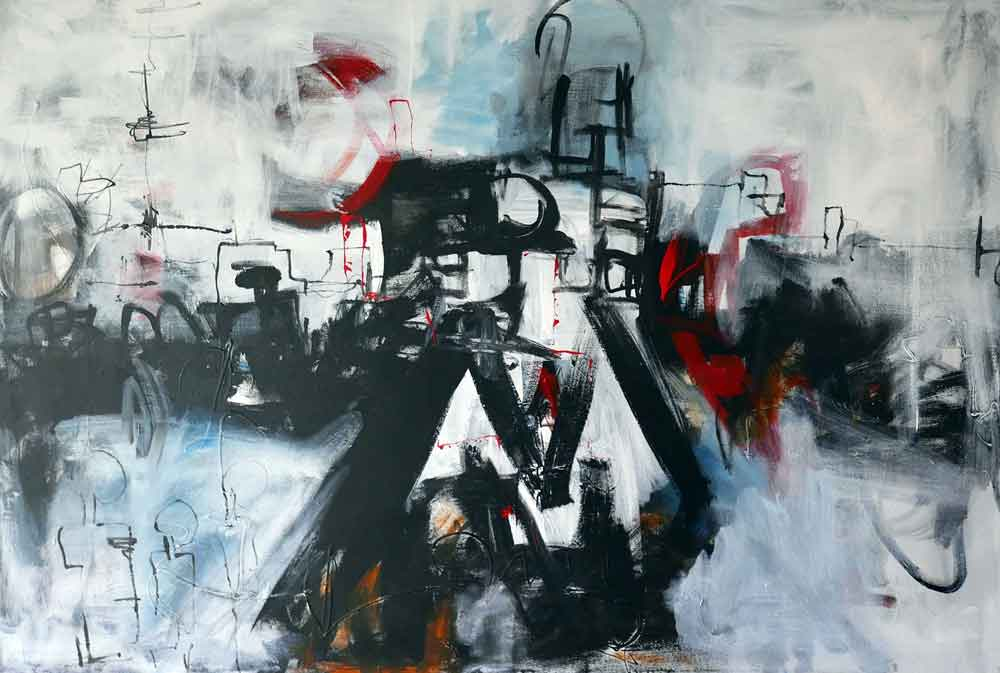 large contemporary urban landscape painting