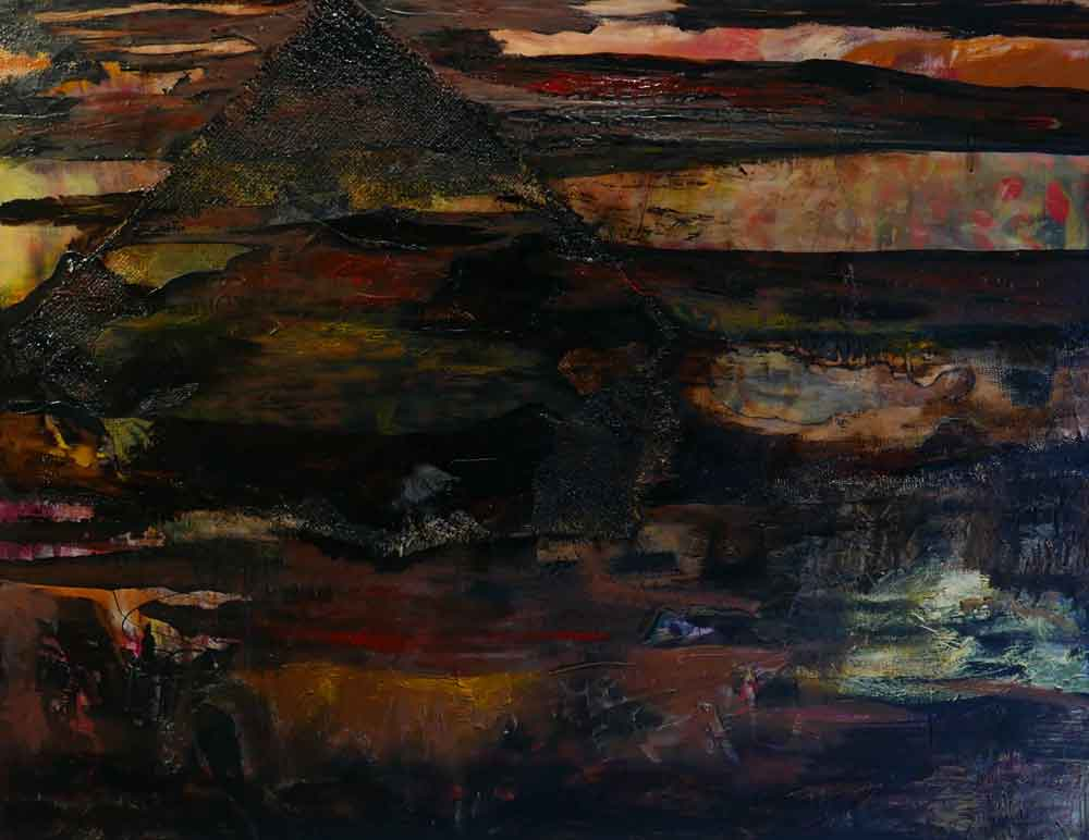 robyn nolan large abstract oil and bitumen painting