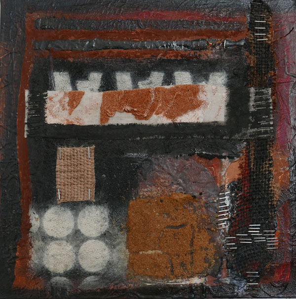 'On the Road' mixed media on canvas 30cm x 30cm